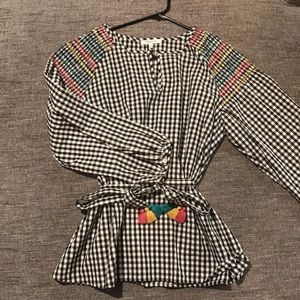 Madewell Embroidered Blouse with Tie at Waist